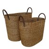 Baum Water Hyacinth 2 Piece Basket with Faux Leather Handles Set