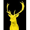 Palm Valley Stag Graphic Art in Night Yellow