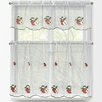 Window Elements Red Apples 3 Piece Embroidered Kitchen Tier and Valance Set