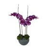 Laura Cole Katelynn Silk Floral Arrangement with Phalaenopsis Orchids, Orchid Leaves and Bamboo in Vase