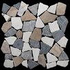 "Pebble Tile 12"" x 12"" Fit Mosaic Tile in Tan, White and Grey Blend"