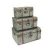 EC World Imports Diamond Galvanized Metal Decorative Trunk Cases