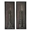 EC World Imports 2 Piece New York City Chrysler and Empire State Building Metal Art Wall Decor Set
