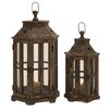EC World Imports Urban 2 Piece Wood Lantern Candle Holder Set