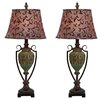"EC World Imports Urban Fleur-di-Lis French Vine 34"" Table Lamp with Drum Shade (Set of 2)"