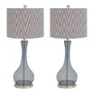 "EC World Imports Urban Zig-Zag Handcrafted Glass 29"" Table Lamp with Drum Shade (Set of 2)"