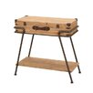 EC World Imports Handcrafted Wooden Metal Frame Removable Storage Trunk