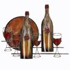 EC World Imports Wine Bottles and Glasses Metal Home Art Wall Decor