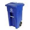 Toter Residential Heavy Duty Two Wheeled Recycling Container Cart with Attached Lid
