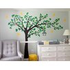 Pop Decors Big Tree with Love Flying Birds Colorful Right Leaning Tree Wall Decal