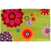 Homefires Floral and Garden Green Flower Daze Area Rug