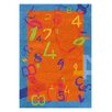 Dynamic Rugs Fantasia Orange/Blue Number Area Rug