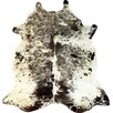 Chesterfield Leather Extra Large Salt and Pepper Exotic Brazilian Cowhide Black/White Area Rug