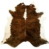 Chesterfield Leather Extra Large Brindle Brazilian Cowhide Brown & White Area Rug