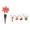 Boston International Glass Christmas Icons Stopper & Wine Charms Set