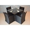 Wicked Wicker Furniture Star 5 Piece Dining Set with Cushion