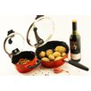 BergHOFF International Virgo 4 Piece Non-Stick 1.6-qt Casserole and 10'' Skillet Set with Lids