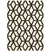 Nourison Linear Ivory and Black Rug