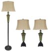 Fangio Lighting 3 Piece Table Lamp Set with Bell Shade