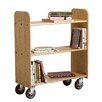 Solid Oak Book Truck With 3 Flat Shelves