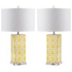 "<strong>Safavieh</strong> Quatrefoil 27"" H Table Lamp with Drum Shade (Set of 2)"