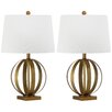 "Safavieh Euginia Sphere 24.5"" H Table Lamp with Drum Shade (Set of 2)"