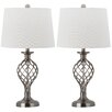 "Safavieh Lattice Urn 26.75"" H Table Lamp with Drum Shade (Set of 2)"
