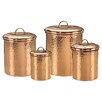 Old Dutch International Hammered 4 Piece Canister Set in Copper