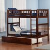 Atlantic Furniture Woodland Twin Over Twin Standard Bunk Bed with Twin Urban Lifestyle Trundle