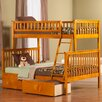 Atlantic Furniture Woodland Twin Over Full Standard Bunk Bed with 2 Urban Lifestyle Bed Drawers