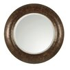 Leonizio Round Beveled Mirror in Brown Leather