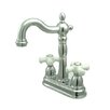 Heritage Double Handle Centerset Bar Faucet with Porcelain Cross Handles