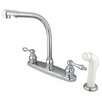 <strong>Elements of Design</strong> Victorian Double Handle Centerset High Arch Kitchen Faucet with Metal Lever Handles and White Side Spray