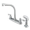 <strong>Elements of Design</strong> Victorian Double Handle Centerset High Arch Kitchen Faucet with Metal Lever Handles and Plastic Side Spray