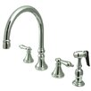 "Elements of Design 12"" Deck Mount Double Handle Widespread Kitchen Faucet with Metal Cross Handle"