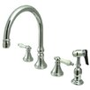 <strong>Elements of Design</strong> Deck Mount Double Handle Widespread Kitchen Faucet with Porcelain Lever Handle