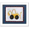 Doodlefish Transportation Backhoe Framed Art