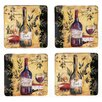 "Wine and Cheese Party 10.5"" Square Dinner Plate (Set of 4)"
