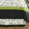 Lime and Black Spirodot Queen Bed Skirt