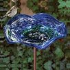 Echo Valley Illuminary Blue Swirl Birdbath with KD Stake
