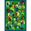 Joy Carpets Just for Kids Joyful Faces Green Area Rug