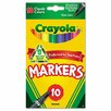 Crayola LLC Non-Washable Markers, Fine Point, Classic Colors, 10/Set