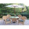<strong>Oakland Living</strong> Resin Wicker Dining Set with Cushions and Umbrella