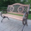 Oakland Living Double Rose Wood and Cast Iron Park Bench