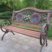 <strong>Double Golfer Cast Iron and Wood Park Bench</strong> by Oakland Living