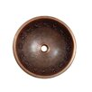 Contemporary Tribal Design Topmount Round Copper Vessel Sink