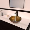 Vigo Branco Glass Vessel Bathroom Sink with Otis Faucet