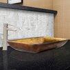 Vigo Rectangular Glass Vessel Bathroom Sink and Shadow Faucet Set