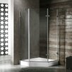 Vigo Neo-Angle Door Frameless Clear Shower Enclosure with Base & Knob Handles