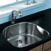 "Vigo 23.5"" x 21.25"" Single Bowl D shaped Undermount Kitchen Sink"